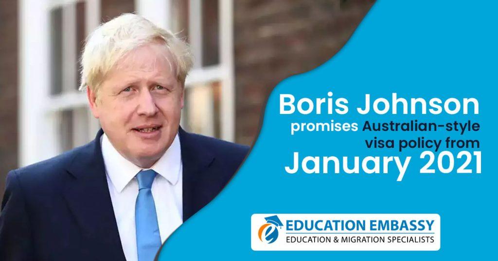 Boris Johnson promises Australian-style visa policy from January 2021