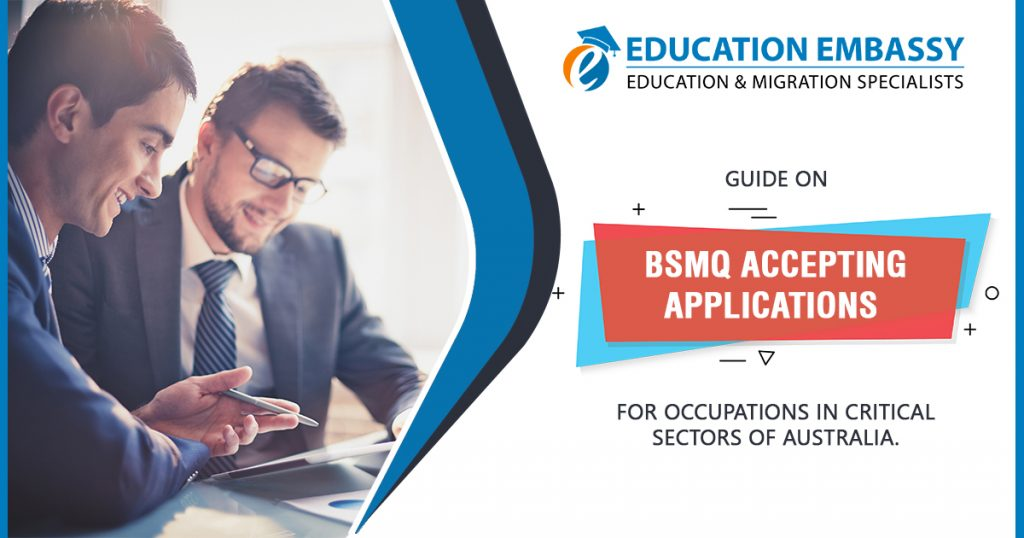 Guide on BSMQ accepting applications for occupations in critical sectors of Australia
